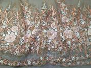 Embroidered Border Lace Fabric  Gold
