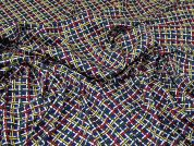 Criss Cross Print Woven Crepe Dress Fabric  Multicoloured
