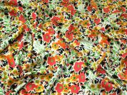 Bright Floral Print Woven Crepe Dress Fabric  Multicoloured