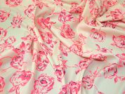 Bright Floral Print Woven Crepe Dress Fabric  Neon Pink on Cream