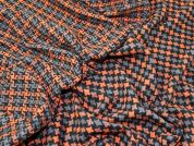 Wool Blend Reversible Woven Coating Fabric  Black, Orange & Grey