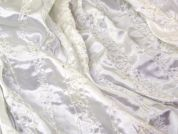 Embroidered Stripe Satin Dress Fabric  White