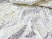 Wide Embroidered Stripe Satin Dress Fabric  White