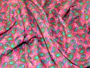 Stylised Leaf Polyester Print Dress Fabric  Pink