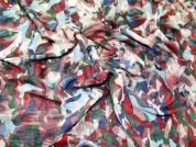 Abstract Print Georgette Dress Fabric  Multicoloured