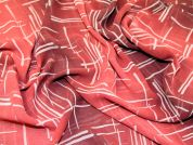 Abstract Print Georgette Dress Fabric  Dark Red & Wine
