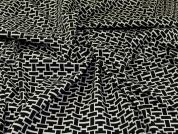 Reversible Stretch Jacquard Fabric  Black & Ivory