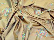 Embroidered Taffeta Dress Fabric  Brown & Multicoloured