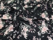Floral Print Crepe Dress Fabric  Pink on Black