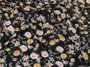 Floral Print Crepe Dress Fabric  Multi on Black