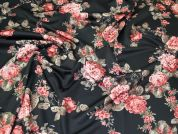 Floral Print Scuba Stretch Jersey Knit Dress Fabric  Rose Pink on Black