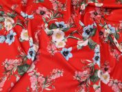 Floral Print Scuba Stretch Jersey Knit Dress Fabric  Red