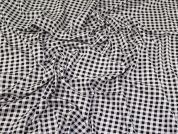 Gingham Check Print Stretch Jersey Knit Dress Fabric  Black & Ivory