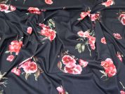Floral Print Stretch Jersey Knit Dress Fabric  Pink on Black