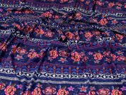 Viscose Jersey Knit Fabric  Indigo Multi