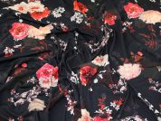 Floral Jersey Knit Fabric  Black