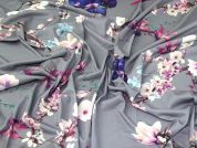 Floral Jersey Knit Fabric  Grey & Purple