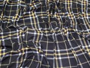 Plaid Check Jersey Knit Fabric  Black & Yellow