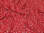 Floral Jersey Knit Fabric  Red