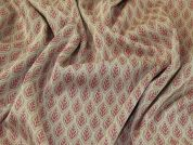 Jacquard Jersey Knit Fabric  Beige & Rose