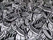 Crinkle Satin Fabric  Black & White