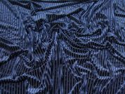 Stripe Velvet Velour Knit Fabric  Navy Blue