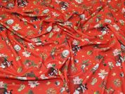 Christmas Scuba Crepe Knit Fabric  Red