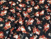 Christmas Textured Jersey Knit Fabric  Black & Red