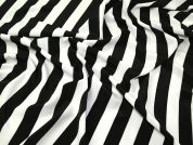 Broad Stripe Print Crepe Dress Fabric  Black & White
