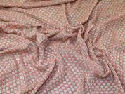 Lurex Lacy Stretch Jersey Loose Knit Dress Fabric  Pink & Gold