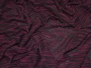 Loose Knit Slub Jersey Dress Fabric  Black & Plum