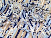 Polyester Crepe Fabric  Blue & Beige