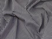 Print Narrow Stripe Scuba Stretch Jersey Dress Fabric  Black & White