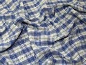 Check Suiting Fabric  Blue