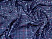 Check Suiting Fabric  Deep Blue