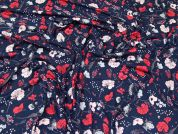Floral Jersey Knit Fabric  Navy & Red