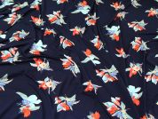 Floral Jersey Knit Fabric  Navy Blue