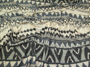 Aztec Stripe Jersey Knit Fabric  Cream & Grey