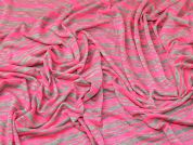 Stripe Jersey Knit Fabric  Neon Pink & Grey
