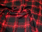 Wool Blend Coating Fabric  Black & Red