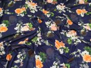 Floral Jersey Knit Fabric  Blue & Orange