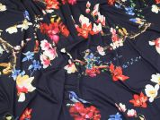Birds & Flowers Jersey Knit Fabric  Navy Blue