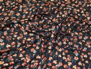 Floral Jersey Knit Fabric  Black Multi