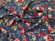 Floral Crepe Fabric  Denim Blue