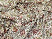 Paisley Crepe Fabric  Green