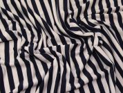 Stripey Stretch Jersey Knit Dress Fabric  Navy Blue & Beige