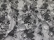 Floral Print Stretch Mesh Dress Fabric  Black & Ivory
