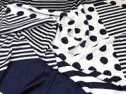 Large Spots & Stripes Print Polyester Sateen Dress Fabric  Navy Blue & Ivory