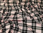 Plaid Check Print Soft Viscose Stretch Jersey Knit Dress Fabric  Black & Pink