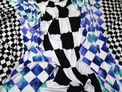 Large Geometric Stripes Print Stretch Slinky Jersey Knit Dress Fabric  Black, White & Blue